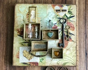 Found Hearts, Hearts, Assemblage Art, Mixed Media Art, Keys, Valentines Day, 3D Art, Collage