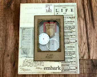 Assemblage Art, Embark, Adventurer, Mixed Media Art, Found Objects Art, Vintage Watch Face