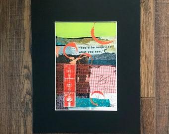 Mono Print Paper Art, Collage Art, Mixed Media Art, Original Art