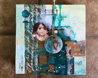 Original Mixed Media Art, Collage Art, Original Art, Curious