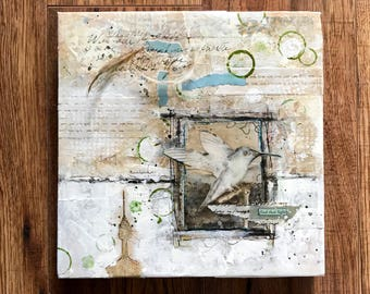 Hummingbird, Collage Art, Mixed Media Art, Layered art, Contemporary Art