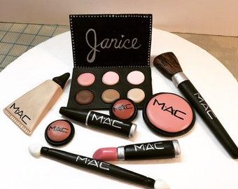 M.A.C. fondant makeup cake topper set