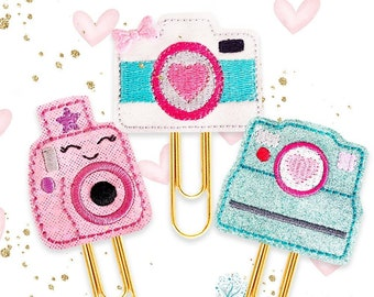 Retro Camera Collection of Planner Paper Clips, Magnets or Brooch Pins - Handmade Vinyl & Felt Bookmarks for Journals, Diaries - Fun Gifts