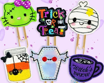 Trick of Treat Halloween Planner Paper clip Collection - Seasonal Fun Handmade Vinyl & Felt Paper Clips for Planners, Journals and Diaries