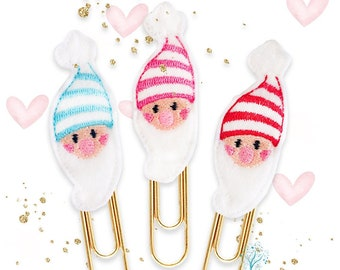 Lovable Gnomes Planner Paper Clips, Magnets or Brooch Pins - Choose from Blue, Pink or Red Striped Hat - Fun bookmarks for diaries, planners
