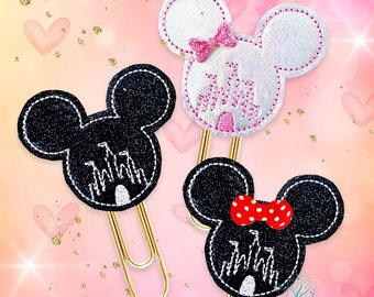 Magical Mouse Ears Castle Planner Paper Clip or Magnet. Glitter Black or Holographic Silver with Pink. Bookmarker for Planners, Journals
