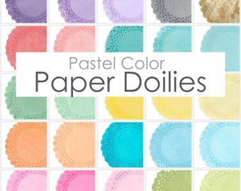 """Premium Hand-Dyed PASTEL Color Paper Doilies, Choose from 25 Colors and Sizes from 4"""", 6"""", 8"""", 10"""", 12"""",14"""" Wedding, Party Event Table Decor"""