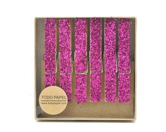 Gold glitter clothespins. Glitter drenched Clothespins. Gift enclosure - Photo Holder. Party Banner DIY. Party favor Glittered Clothespins