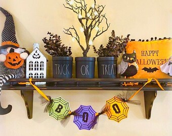 BOO Spiderweb Halloween Banner - Vibrant Colors of Purple, Green and Orange 4 inch Felt Letters - Halloween Party