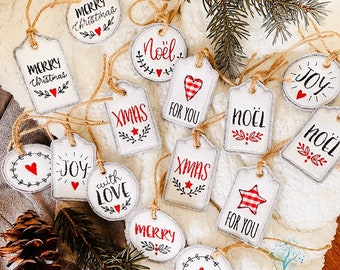Christmas Felt Tags. Holiday Embroidered Gift Tags with natural jute ties. Gift Toppers, Gift embellishments 12 designs. Felt Tree ornaments