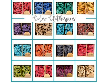 """Box of 50 Mini Hand Dyed 1"""" Color clothespins 