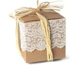 20 plain brown kraft box . 4 inch cube . pinstripe finish . 4x4x4 supplies .wedding . party favors . gift wrap . organization . packaging