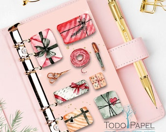 Holiday Gift Wrapping Digital Planner Dashboard. . Planner Insert Instant Download Printable. A5, Pocket, Personal Size plus Bonus Postcards