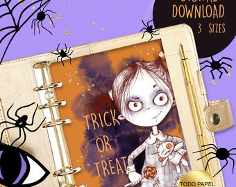 Zombie Girl Trick or Treat Digital Planner Dashboard Printable. A5, Pocket, Personal Size. Planner Inserts, Dividers. Fun Instant Download