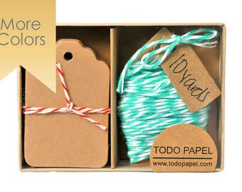 Kraft mini tag and mint bakers twine. Choose your twine color. Kraft Tags with Twine. Color cotton floss. Party Gift Toppers. READY TO SHIP