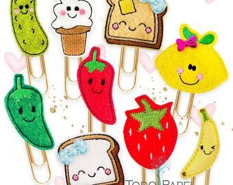 Kawaii Foodie Cuties Collection of Planner Paper Clips, Magnets or Brooch Pin - Handmade Vinyl/Felt Bookmarks for Journals, Planners, Diary