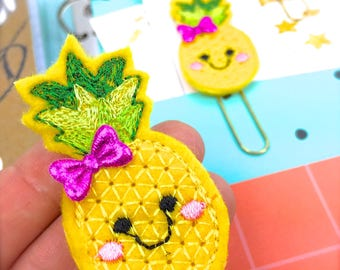 Felt Pineapple Planner Paper Clip | Kawaii Pineapple Gifts, Bookmark Journal Marker | Novelty Paper Clips - Party Favors - Tropical Fruit