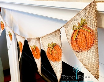 Pumpkin Burlap Banner decoration. Thanksgiving Flag garland Banner, Fall Holidays or Party Decor.