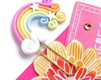 Kawaii Rainbow Planner Paper Clip | Polymer Clay Kawaii Rainbow Clouds Clip Book mark or Magnet | Novelty Gifts. Polymer Clay rainbow gifts