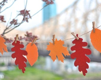 Fall Banner. DIY Bunting Garland Kit with glitter Leaves, stained clothepins, and Hemp kit - Fall Thanksgiving Home Decor. Thankful gifts