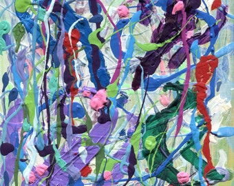"""DIRECTIONLESS 8""""x10"""" abstract painting"""