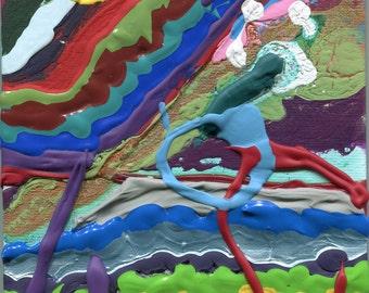 SEEKING by Korey Watkins, 5x7 abstract painting on canvas panel