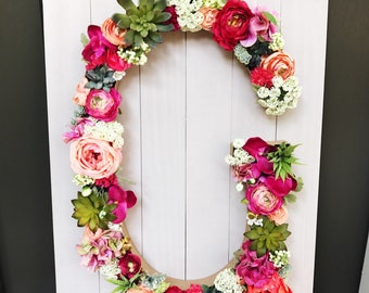 Floral Initial Wall Hanging