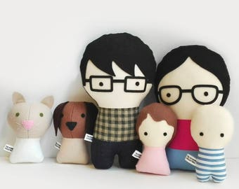Handmade Personalized Family with pets. Rag doll. Custom your own family. Customize dolls.