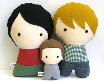 Handmade Personalized Family with baby. Plush doll. Custom your own family. Customize.