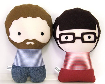Two Handmade Personalized Plush Dolls. Custom your own family.