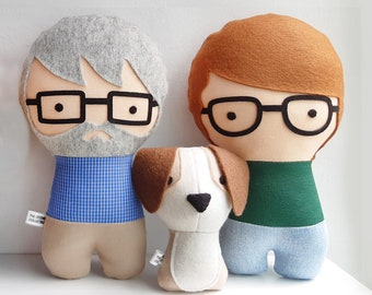 Couple with cat Personalized Dolls. Handmade Plush Dolls. Custom your own family.