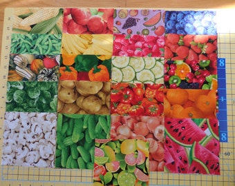 """42 5"""" Charm Pack Fruits & Veggies I Spy - 2 each of 21 different prints - Novelty Quilt Fabric Squares Cotton"""