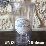 48 - 2.5 inch Tumbler Waterproof Destination Wedding Stickers - hundreds of designs to choose, change colors or wording WR121