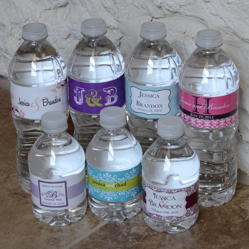 100 Custom Glossy Waterproof Wedding Water Bottle Labels  image 0
