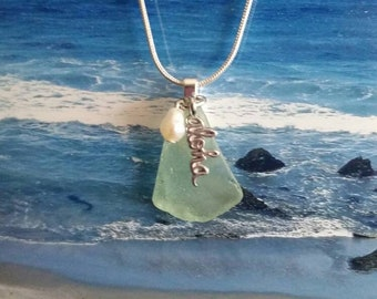 Aloha sea glass necklace