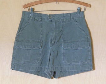 Vintage American Eagle Outfitters Shorts Flat Front Cotton Twill Hiking Size 6 8 Army Green Twill Military Look Cargo 28 inch waist size 10