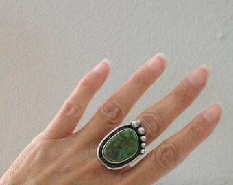 Green Turquoise Ring Large Green Turquoise Size 6.5 6 1/2 Bear Paw Ring Native American Statement Pawn Ring Vintage Ladies Turquoise Ring