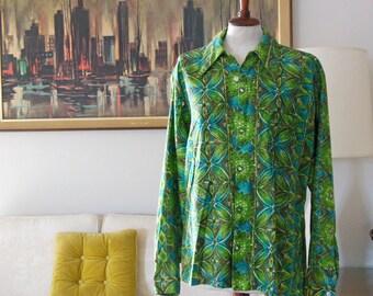 1950's Mens Don Loper of California Hawaiian Shirt Tropical Emerald Green with Aqua Vintage Floral Shirt Abstract Long Sleeve Men's shirt