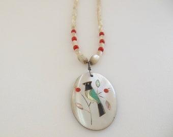 Vintage Zuni Bird Inlay Beaded Necklace Boho Style Native American Pendant Necklace Native American Bird Turquoise Shell Choker Tribal Boho