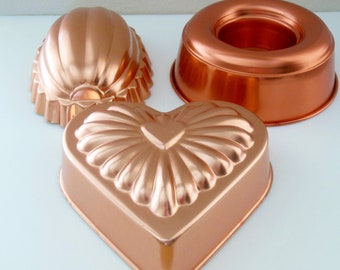 3 Copper Jello Molds Set of 3 Jell-O Set Jello Tin Dessert Hanging Copper Ring Heart scallop oval Egg Mold aluminum fluted cups Gelatin Loaf
