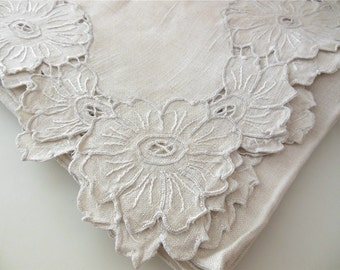 Linen Square Table Cloth 50 x 50 Tablecloth Ecru Floral Hand Embroidered Table Cover Sand Linen Fabric Square Dining Tablecloth Shabby Chic