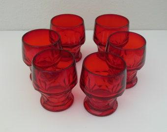 6 Rare 5 Oz Polished Base Fenton Ruby Red Georgian Tumblers Set Ruby Elegant Glass Thumbprint Whiskey Juice Glass Polished Bases Flat footed