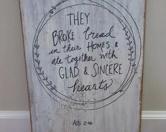 Christian Wall Art Art grand récupéré bois signe verbal - 2-46 ils pain cassé et Ate agit ensemble