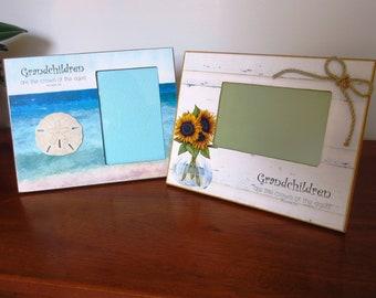 Christian Home Decor Picture Frame Photo Frame for Grandparents Grandschildren - Beachy Driftwood Shells Jute