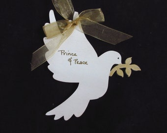 Christian Christmas Ornament White Dove Prince of Peace Olive Branch Peace on Earth Gold and White Ornaments
