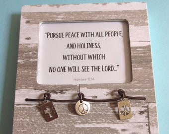 Rechercher la paix avec tous les gens WORD Art Bible verset Hébreux 12 Christian témoignage chrétien