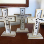Wooden Faith Cross Chippy Paint White Black and Gold Easter Cross Small Cross Baptism Cross Christian Home Decor