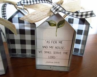 Christian Small Sign As For me and My House We Shall Serve the Lord House Shaped Shelf Sitter Sign Ornament