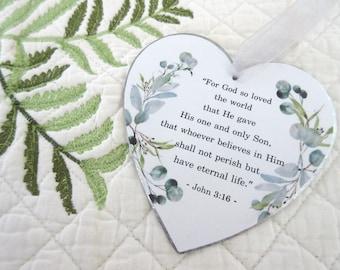 Christian Christmas Ornament John 3:16 God So Loved the World Heart Shaped Galvanized Metal Eucalyptus Ornament Farmhouse Christmas