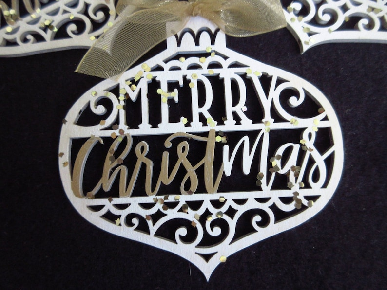 Christian Christmas Ornament Merry CHRISTmas Laser Cut Wood image 0